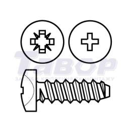Самонаріз з півкруглою головкою і загостреним кінцем для металу і пластмаси