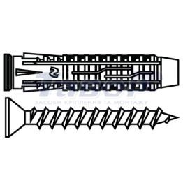 Дюбель універсальний типу KS-X з шурупом потай головка