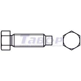 Болт з шестигранною зменшеною головкою і цапфою, різьба докінця, форма А