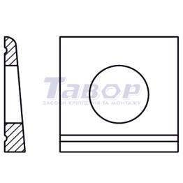 Шайба коса, квадратна, клинова, з проточкою (14 Grad), двотаврова, під болти HV, для з'єдання І-подібних профілів сталевих конструкцій