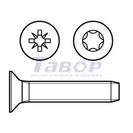 Гвинт самонарізний, потайна головка шліц Pz, для металу