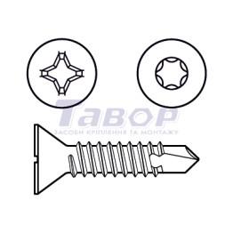 Cамонаріз, потайна головка з буром, для металу