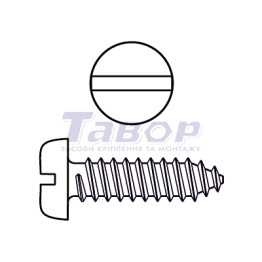 Самонаріз по дереву з циліндричною головкою та прямим шліцом, форма F - із притупленим кінцем