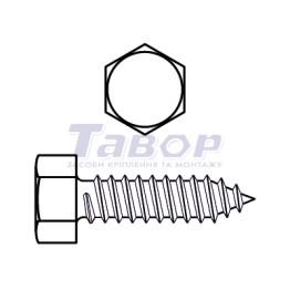 Самонаріз для тонких металевих листів, шестигранна головка, форма С - із загостреним кінцем