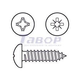 Самонаріз для тонких металевих листів, з хрестоподібним шліцом (Pz або Ph), циліндрична головка, форма С – із загостреним кінцем