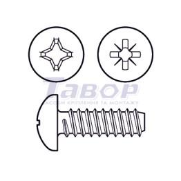 Самонаріз для тонких металевих листів, з хрестоподібним шліцом (Pz або Ph), півкругла головка, форма F – із притупленим кінцем