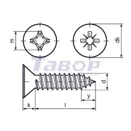 Самонаріз для тонких металевих листів, з хрестоподібним шліцом (Pz або Ph), потайна головка, форма С – із затупленим кінцем