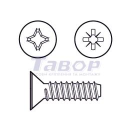 Самонаріз для тонких металевих листів, з хрестоподібним шліцом (Pz або Ph), потайна головка, форма F – із притупленим кінцем