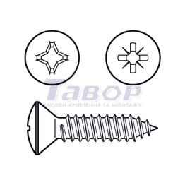 Самонаріз для тонких металевих листів, з хрестоподібним шліцом (Pz або Ph), напівпотайна головка, форма С - із загостреним кінцем