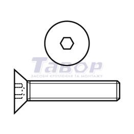 Гвинт високоміцний з потайною головкою і внутрішнім шестигранником під ключ з повною різьбою