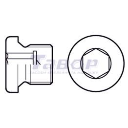Пробка гвинтова нажимна з внутрішнім шестигранником з циліндричною дюймовою різьбою