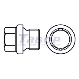 Пробка нажимна з фланцем з шестигранною головкою із циліндричною дюймовою різьбою