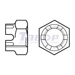 Гайка шестигранна прорізна та корончата, низька