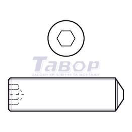 Гвинт установчий стопорний із внутрішнім шестигранником та загостреним (конічним) кінцем