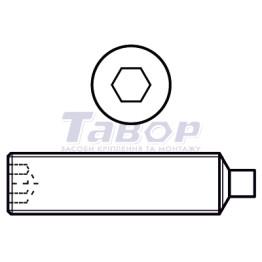 Гвинт установчий із внутрішнім шестигранником і циліндричним кінцем (цапфою)