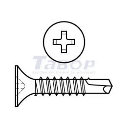 Шуруп для гіпсокартону з свердлом, потайна головка хрестовидний шліц