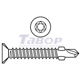 Саморіз потайна головка з буром мілкий крок [Torx]
