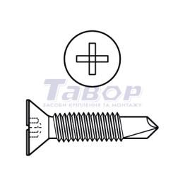 Саморіз по металу з метричною різьбою потайна головка з буром