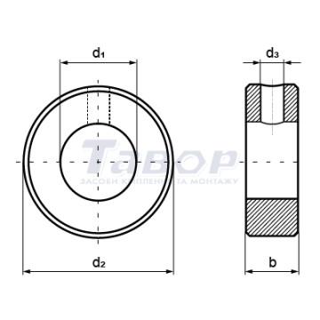 Кільце установче сталеве з отвором під конічний штифт