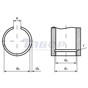 Кільце пружинне стопорне внутрішнє з дроту, форма В для отворів