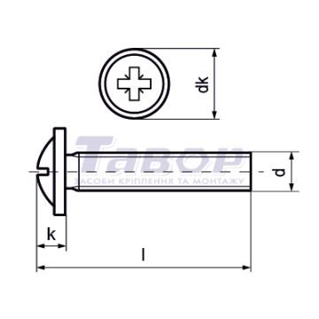 Гвинт із напівкруглою головкою з фланцем ( пресшайбою), з хрестоподібним шліцом і метричною повною різьбою